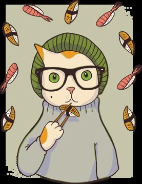 Immagine di   hipster sushi cat