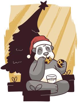 Immagine di   panda natalizio